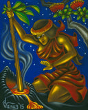 182LH Pele Stirs the Fire by Hawaii Artist Dietrich Varez