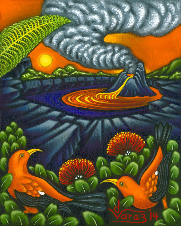 183 Lava Lake and 'I'iwi Birds by Hawaii Artist Dietrich Varez