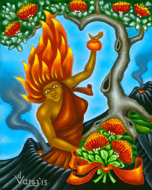 184LH Pele with Ohia Bouquet by Hawaii Artist Dietrich Varez