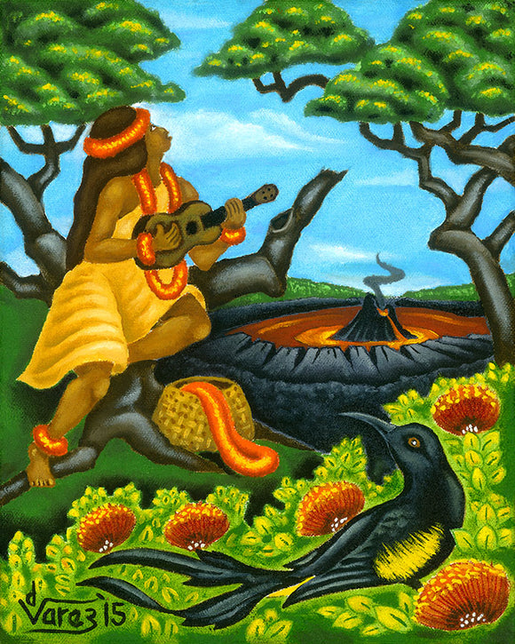 186LH Mele Kilauea with 'O'o Bird by Hawaii Artist Dietrich Varez