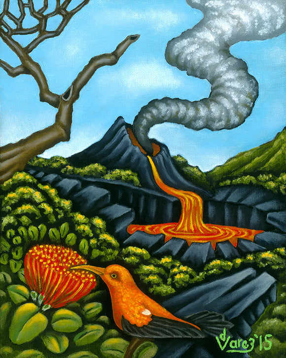 187LH 'I'iwi at the Crater by Hawaii Artist Dietrich Varez