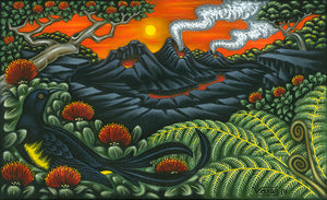 C188 'O'o Bird Volcano Sunset by Hawaii Artist Dietrich Varez