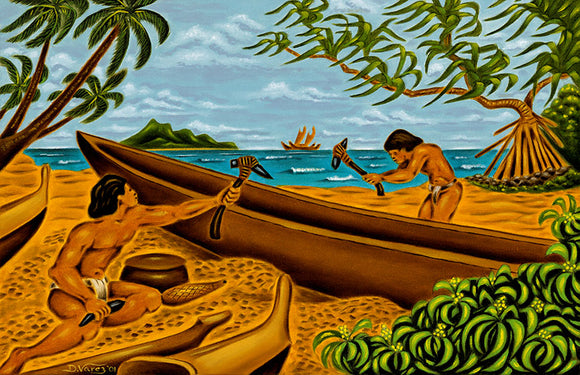36 The Canoe Makers by Hawaii Artist Dietrich Varez