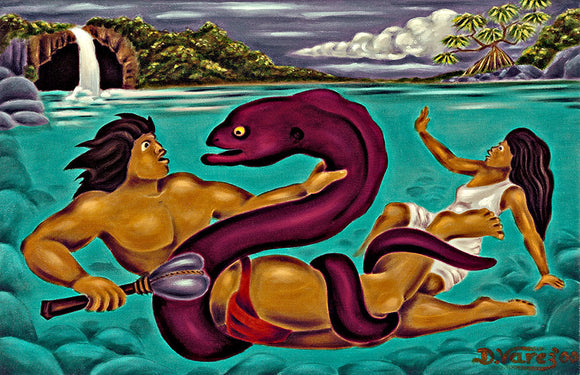 3 Maui Defeating the Eel by Hawaii Artist Dietrich Varez