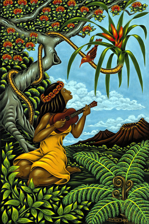 44 Ukulele Girl by Hawaii Artist Dietrich Varez