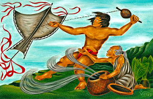 5 Maui Flying His Kite by Hawaii Artist Dietrich Varez