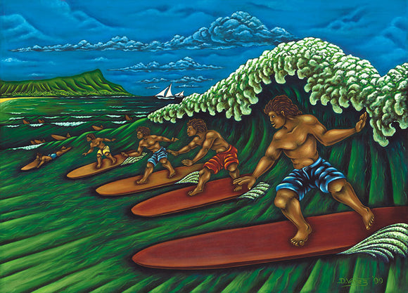67 Waikiki Surfers by Hawaii Artist Dietrich Varez