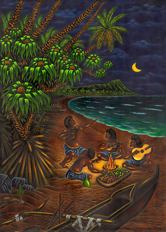 69 Waikiki Night by Hawaii Artist Dietrich Varez