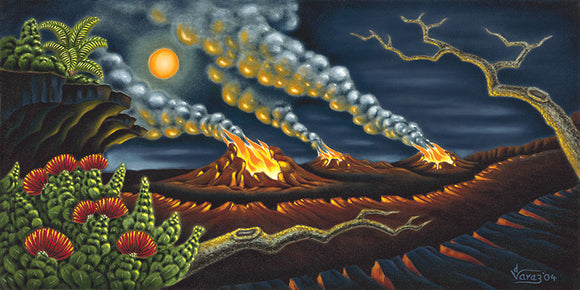 71 Full Moon at Volcano by Hawaii Artist Dietrich Varez