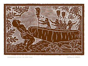 L106 Kamehameha Lifting the Naha Stone by Hawaii Artist Dietrich Varez