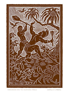 L109 Kamehameha and the Splintered Paddle by Hawaii Artist Dietrich Varez