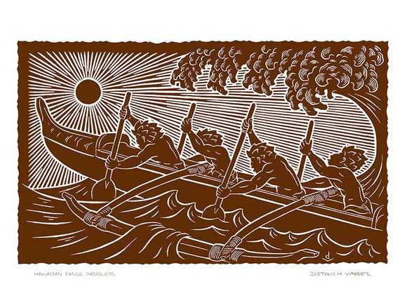 L90 Hawaiian Canoe Paddlers by Hawaii Artist Dietrich Varez