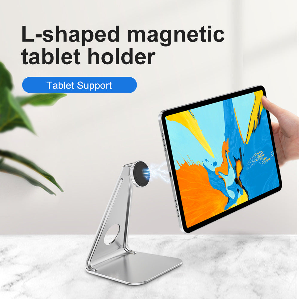L-shaped magnetic tablet holder