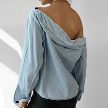 Load image into Gallery viewer, Oblique Collar Long Sleeve Denim Shirt