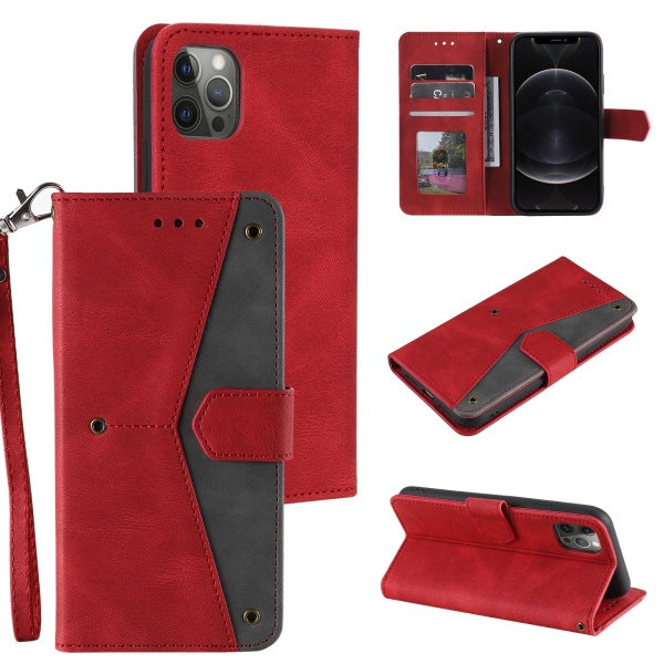 2021 Splicing Leather Retro Protective Wallet Case For iPhone