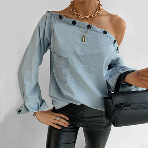 Oblique Collar Long Sleeve Denim Shirt