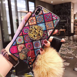 Glittery Diamond-Shaped Pattern Case for iPhone With Phone Holder and Fuzzy Fur Ball Wristband