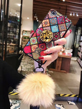 Load image into Gallery viewer, Glittery Diamond-Shaped Pattern Case for iPhone With Phone Holder and Fuzzy Fur Ball Wristband