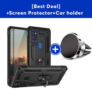 Luxury Armor Ring Bracket Phone Case For Samsung A21S-Fast Delivery