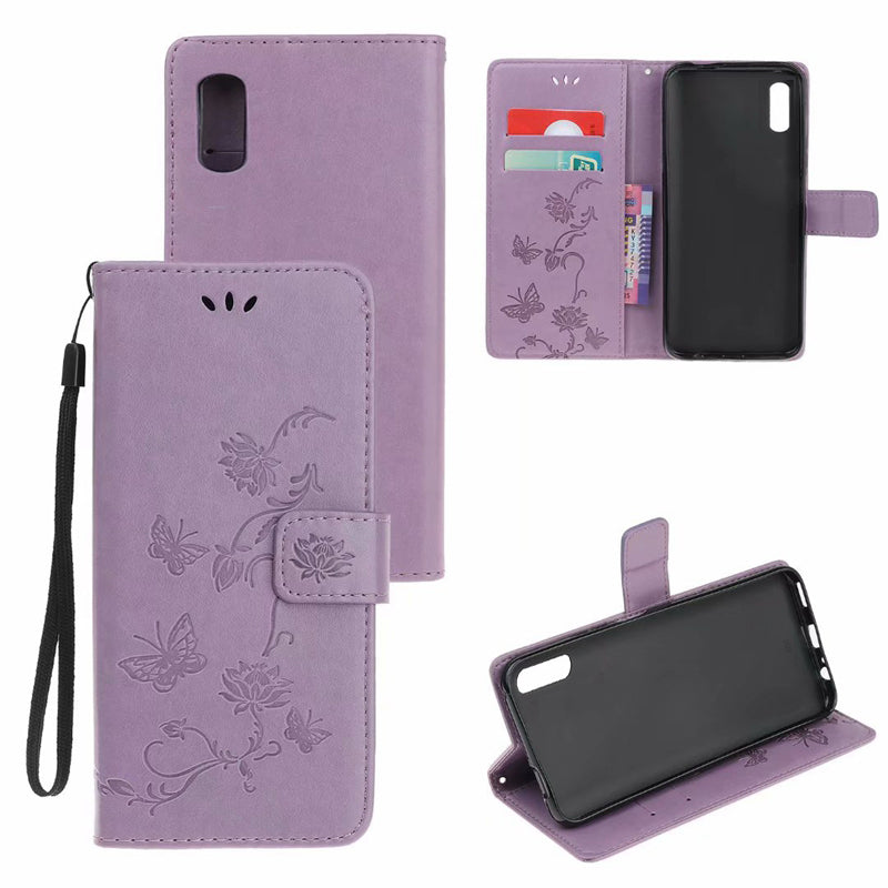 Imprint Butterfly Flower Leather Mobile Phone Case for iPhone XR