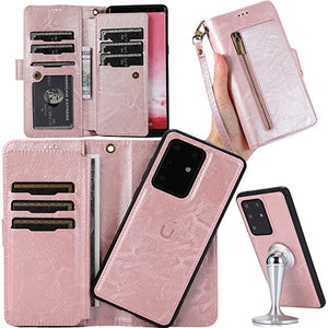 Detachable Flip Folio Zipper Purse Phone Case for Samsung