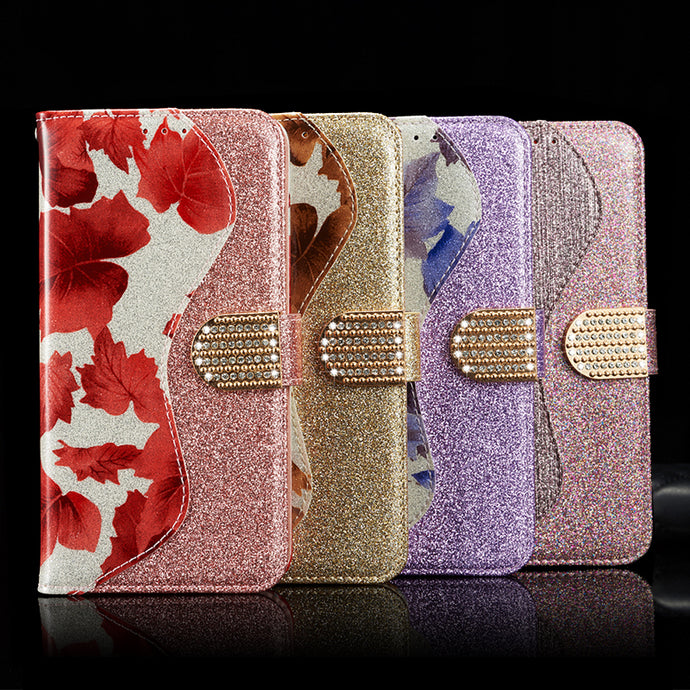 Leather Glitter Rhinestone Flip Case For Samsung