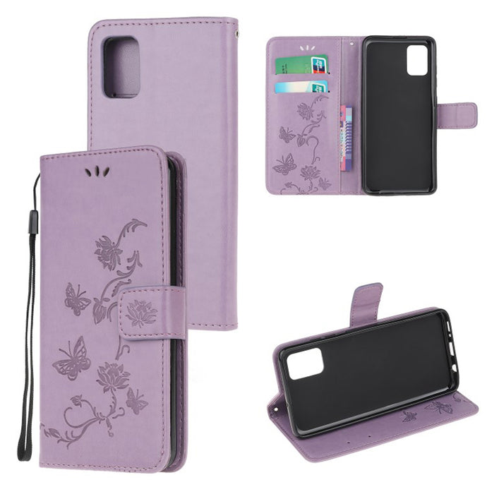 Imprint Butterfly Flower Leather Mobile Phone Case for Samsung