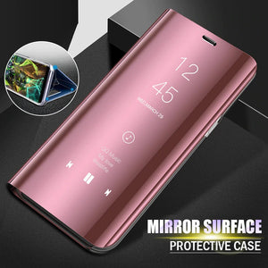 Luxury Mirror Flip Case Slim Clear View Smart Case For Samsung Galaxy Series