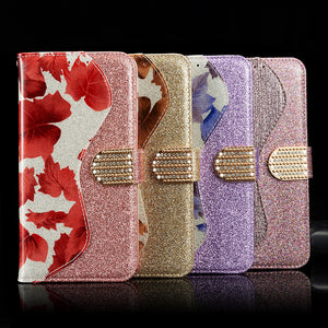 Leather Glitter Rhinestone Flip Case For Samsung A Series