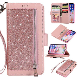 Bling Wallet Case with Wrist Strap for Samsung