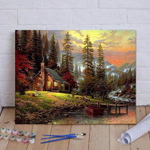 "Load image into Gallery viewer, DIY Painting By Numbers -  Cabin in the woods (16""x20"" / 40x50cm)"