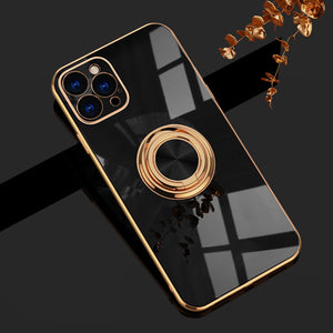 Shiny Plating Built-in Finger Ring Case For iPhone