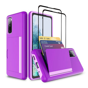 Armor Protective Card Holder Case for Samsung S20 With 2-Pack Screen Protectors