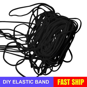 2.5mm Round Braided Elastic Cord/White Elastic Band - 50 Yard