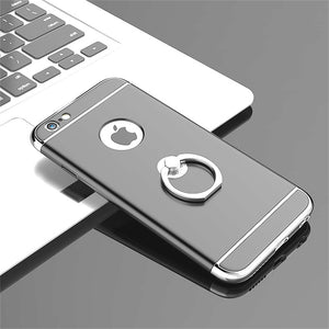 Ultra Thin Electroplating Splicing PC + Inbuilt Metal Ring Kickstand Back Cover