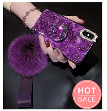 Load image into Gallery viewer, Marble Case for iPhone With Phone Holder and Fuzzy Furry Plush Ball