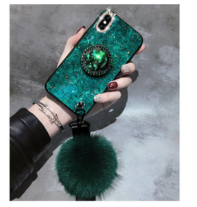 Marble Case for iPhone With Phone Holder and Fuzzy Furry Plush Ball