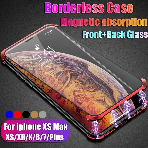 Frameless magneto double-sided glass mobile phone case
