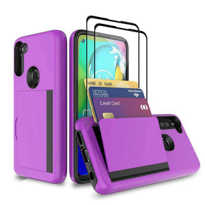 Armor Protective Card Holder Case for Samsung A11(US) With 2-Pack Screen Protectors