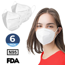 Load image into Gallery viewer, N95 Respirator Mask Reusable, (FDA Registered) Face Mask for at least 95% filtration efficiency against non-oil-based particles and aerosols (6-Pack) - Canopus