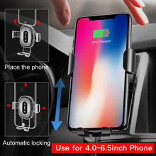 Load image into Gallery viewer, Car Mount Qi Wireless Charger For iPhone X 8 Plus Quick Charge Fast Wireless Charging Car Holder Stand For Samsung S9 S8