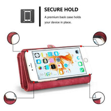Load image into Gallery viewer, Zipper Wallet Magnetic Case Detachable 2 in 1Cover For iPhone