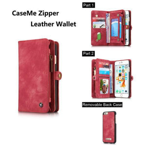 Zipper Wallet Magnetic Case Detachable 2 in 1Cover For iPhone