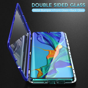Magnetic Adsorption Transparent  Front+Back double-sided Glass Phone Case For Huawei