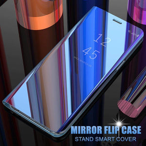 Luxury Mirror Flip Clear Smart Case For HUAWEI