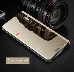 Luxury Stylish Mirror Flip Smart Case For Samsung