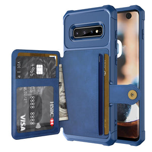 Phone Bags - Leather Flip Wallet Photo Holder Hard Back Cover For Samsung