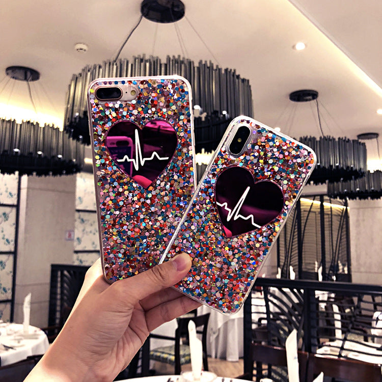 Fashion Bling Glitter Love Heart Phone Case For iPhone