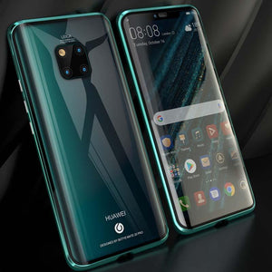 Magnetic Adsorption Transparent Case Front+Back double-sided Glass Phone Case For Huawei