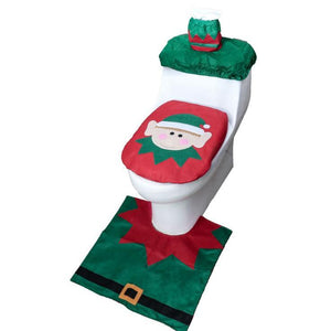 3PCS Christmas Toilet Seat+Water Tank Cover (Paper Towel Cover)+Foot Pad